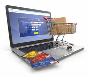 Online-Shop: Notebook, chariot, cartes de credit