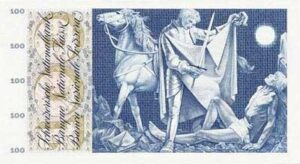 Old 100 Swiss Franc Note showing Saint Martin sharing his coat